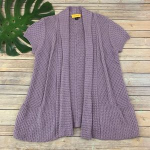 St John purple cable knit open front cardigan